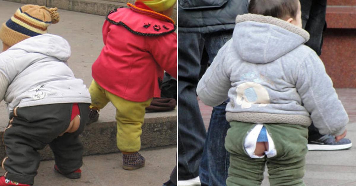 중국 애기들이 엉덩이 뚫린 바지 입고 다니는 이유