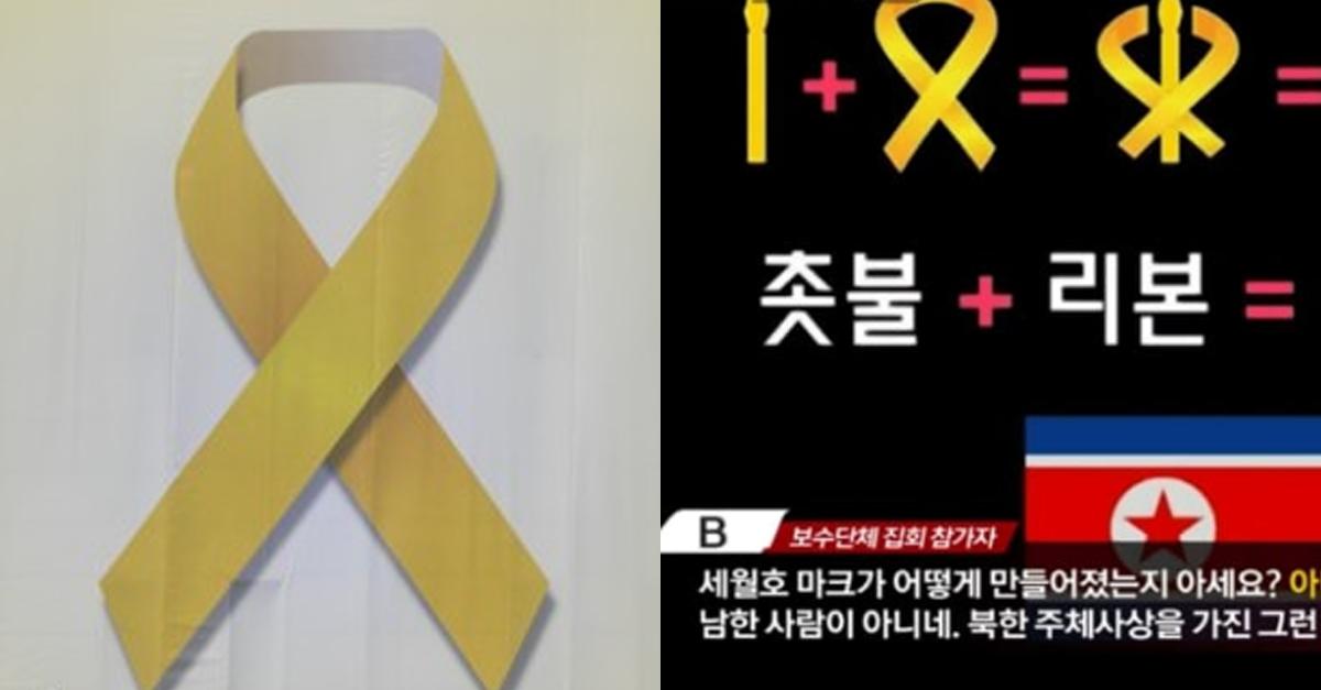 세월호 리본이 북한을 상징한다는 황당한 이유