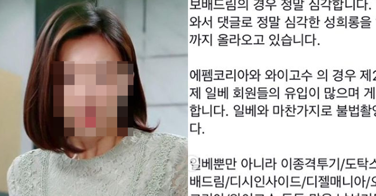'남초 커뮤니티' 경찰 조사해달라고 청원 올린 여배우