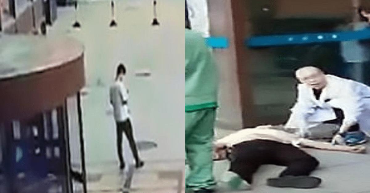 옥상서 투신한 여성과 20대 청년이 충돌하는 모습