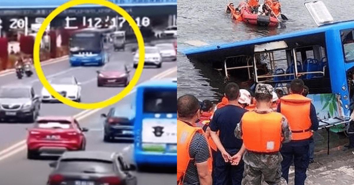 승객 37명 태우고 일부로 추락한 버스..