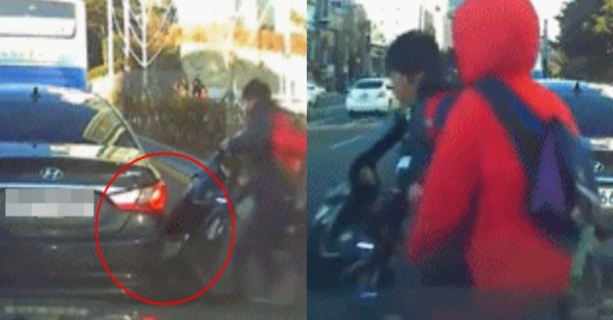 """""""역대급 사이다"""" 미성년자 오토바이 뺑소니 도주 사건 (+블랙박스)"""