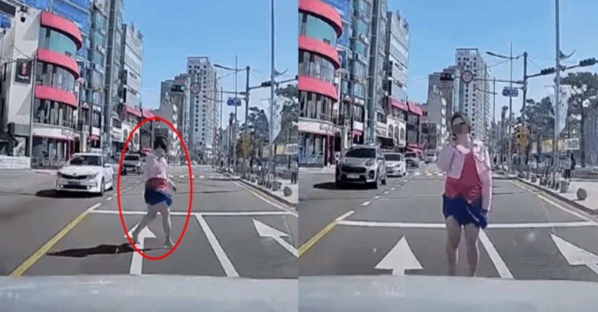 """""""멧돼지인 줄 알았다"""" 부산 광안리 무단횡단녀(+영상)"""