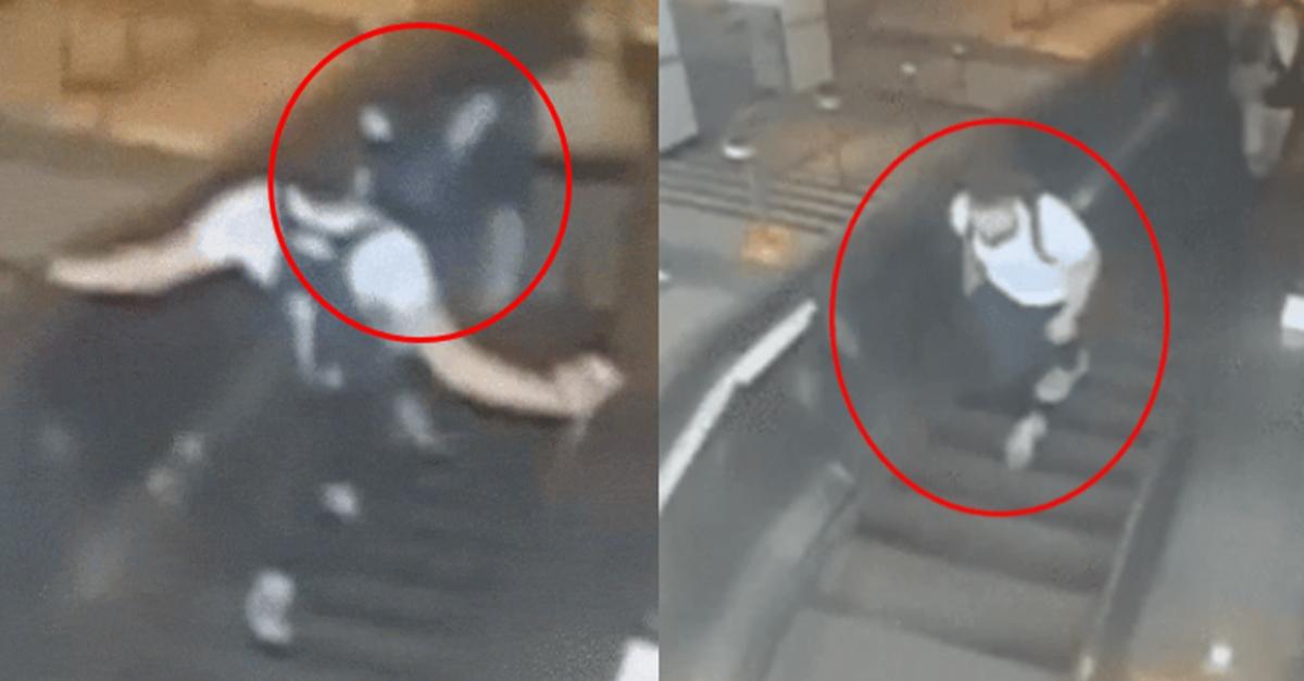 [공개수배] 에스컬레이터 오르던 여성, 발로 차고 도망간 남자